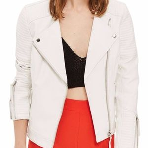 NEW Topshop Luna Faux Leather Jacket in White